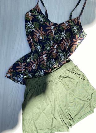 Летний натуральный вискозный домашний костюм/пижама майка и шорты 42-50