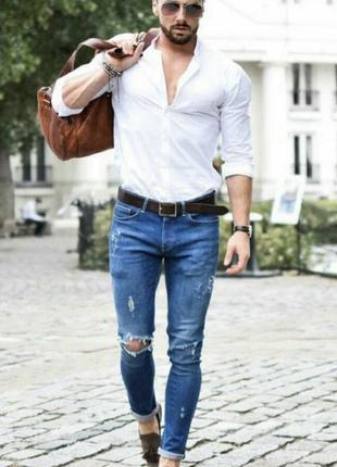 Мужская белая рубашка хлопок massimo dutti оригинал