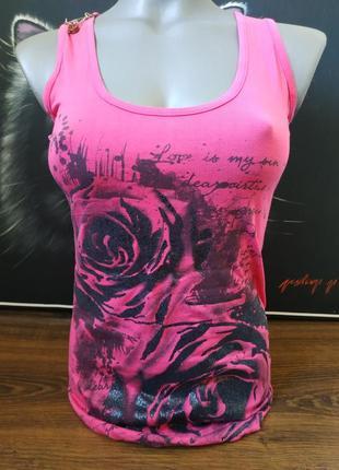 Майка удлиненная туника боксерка розовая цветы гипюр принт надпись
