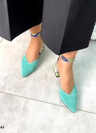 Женские туфли мюли замшевые кожаные