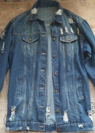 Рваная джинсовка джинсовая куртка ретро унисекс