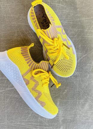 Легкие летние желтые кроссовки/наложка/распродажа