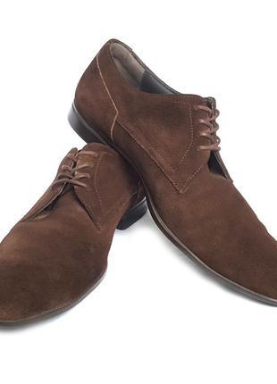 Классические замшевые туфли дерби оксфорды boss hugo boss suede shoes
