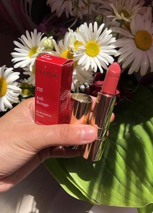 Clarins joli rouge 732 губная увлажняющая помада кларанс кларинс красного оттенка