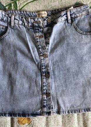 House джинсовая юбка трапеция на пуговицах