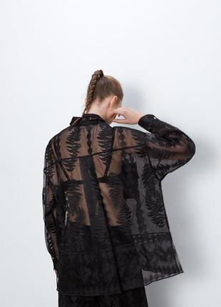 Zara чёрная блуза рубашка из органзы с вышивкой оверсайз полупрозрачная
