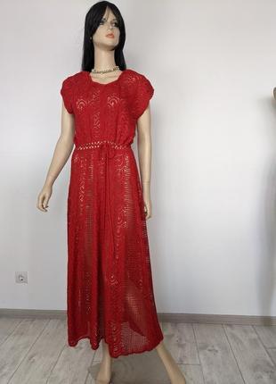 🔥🔥🔥 платье шикарное красное длинное вязанное хенд мейд для фотосессии