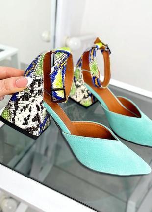 Яркие туфли со вставками из рептилии