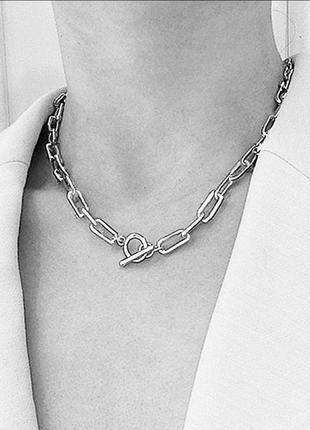 Ожерелье колье чокер цепочка серебристая с подвеской кольцо