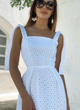 Летнее платье из натуральной прошвы4 фото