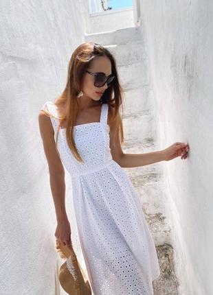 Летнее платье из натуральной прошвы3 фото