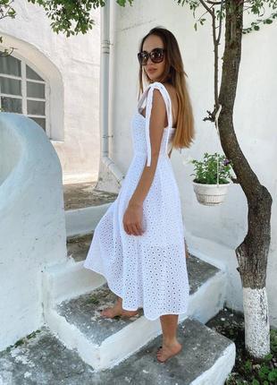 Летнее платье из натуральной прошвы5 фото
