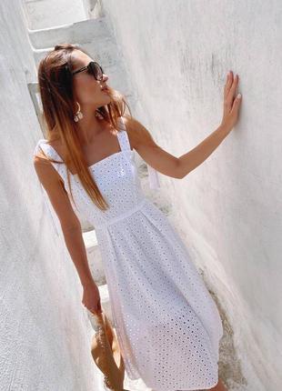 Летнее платье из натуральной прошвы8 фото