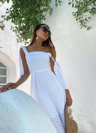 Летнее платье из натуральной прошвы9 фото