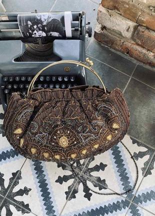 Винтажная сумка с паетками и бисером