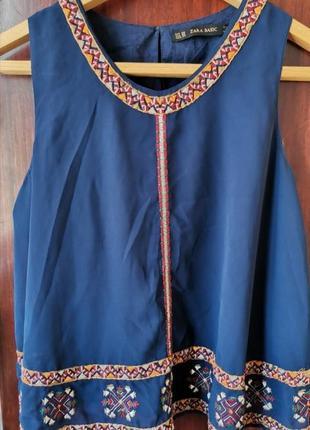 ❗акция 1+1=3❗zara. шифоновая блузка вышиванка
