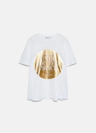 Стильная футболка от zara оверсайз размер s оригинал новая с биркой