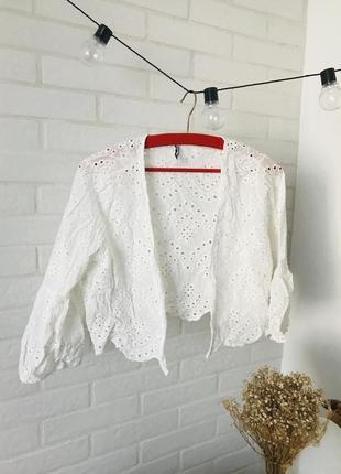 Блуза з прошви котонове біла накидка