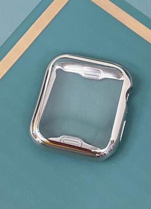 Силиконовый чехол для apple watch 44мм серебро