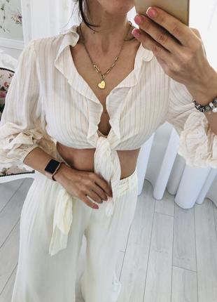 Полосатая рубашка блузка кроп топ с объёмными рукавами буфы и рюшами