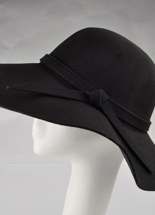 Шляпа новая фетровая черная, шляпа с широкими полями