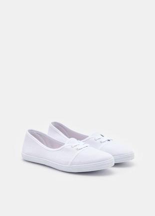 Белые хлопковые мокасины sinsay кеды тканевые на шнурках