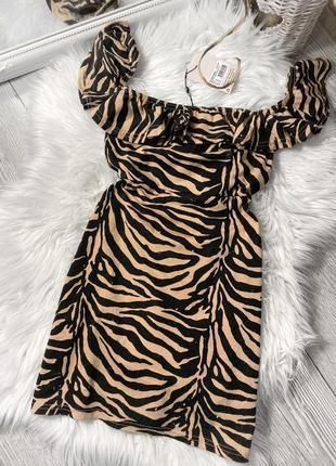 Платье мини в звериный принт