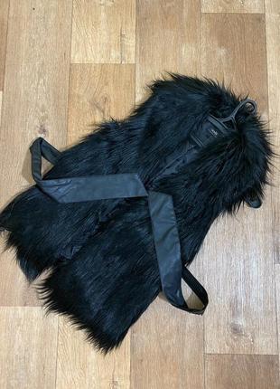 Меховая жилетка хутрова жилетка жакет куртка эко хутро мех безрукавка черная oodji
