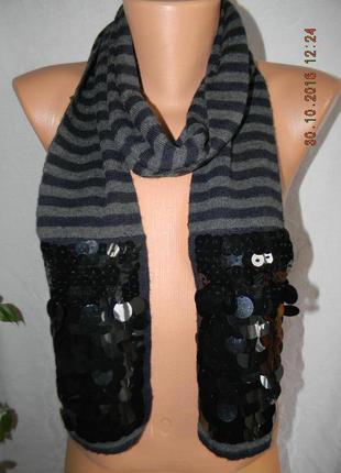 Теплый шарф в полоску с паетками