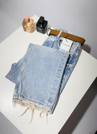 Zara джинсы прямые с поясом женские