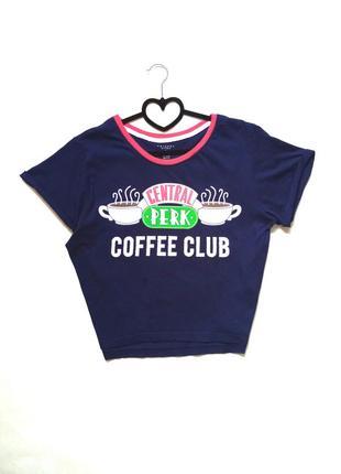 Синяя футболка свободного кроя с принтом central perk coffee club винтаж