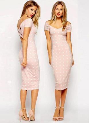 Распродажа! натуральное платье asos миди в горошек c полуоткрытой спиной