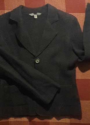 Теплый шерстяной черный пиджак жакет