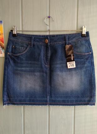 Стильная джинсовая новая мини юбка