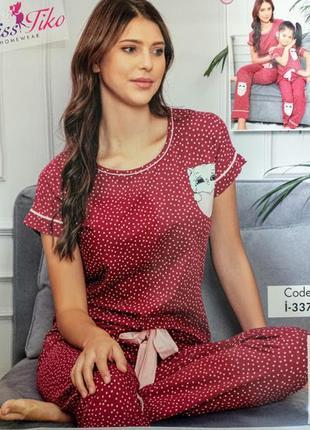 Шикарная женская пижама - домашний костюм футболка штаны, приемиум качество s-xl, турция.