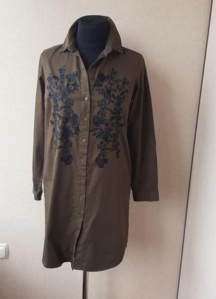 Платье -халат  цвета хакки