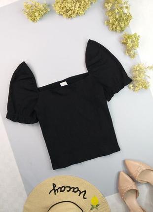 Блуза/топ черный с квадратным вырезом и рукавами буфами 12р.