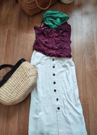 Летняя юбка молочного цвета  лен