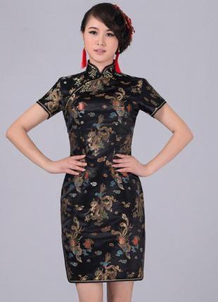 Шёлковое китайское традиционное платье ципао