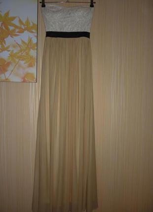 Нарядное длинное макси в пол платье без бретелек