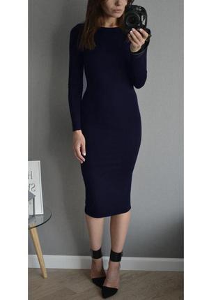 Силуэтное платье темно синее базовое платье (m, l)