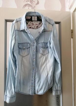 Рубашка джинсовая denim co, 44-46, размер 16