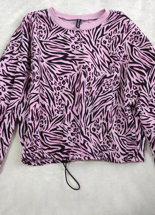 Свитшот свитер укоченный оверсайз тигровый леопардовый анималистичный принт h&m