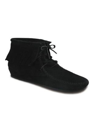 Новые демисезонные черные замшевые ботинки-мокасины сапоги полусапожки с бахромой от top