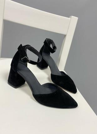Туфли босоножки натуральная замша 550-1 на низком каблуке
