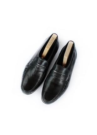 Кожаные туфли лоферы ms черные