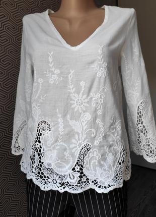 Блуза белая ажурная коттоновая zara размер м