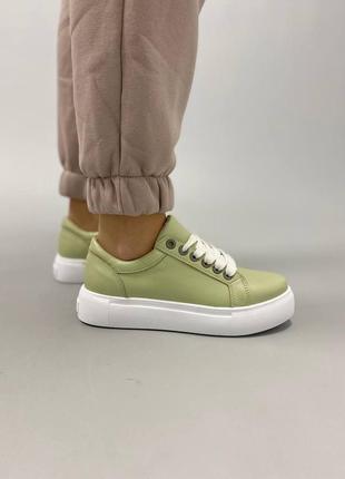 Базовые кеды кроссовки зелёные натуральная кожа на высокой подошве 790-4 фисташка