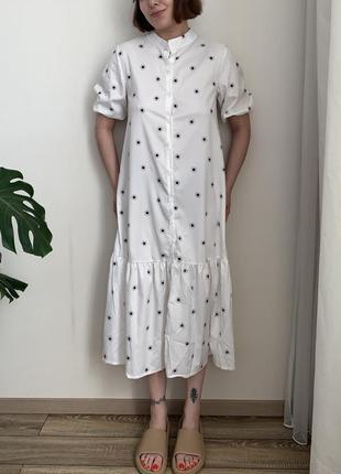 Платье с рукавами фонариками/ платье в горох/ летнее платье / не zara, mango