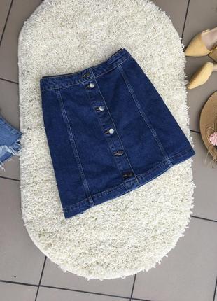 Юбка с пуговицами джинсовая джинсова